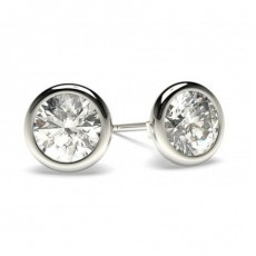 White Gold Round Diamond Stud Earring - CLER21_01
