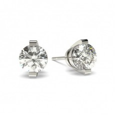 White Gold Round Diamond Stud Earring - CLER23_01