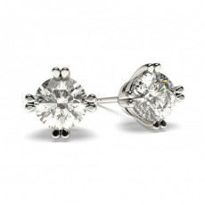 White Gold Round Diamond Stud Earring - CLER24_01