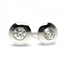 White Gold Round Diamond Stud Earring - CLER25_01