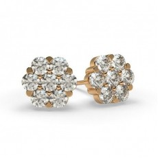 White Gold Round Diamond Cluster Earring - CLER27_01