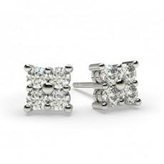 White Gold Round Diamond Cluster Earring - CLER28_01