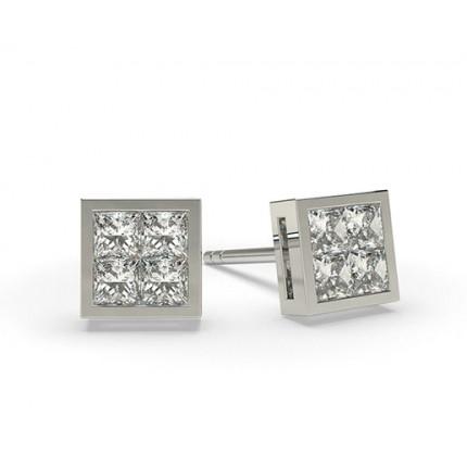 Mehrfachdiamant Ohrringe in einer unsichtbarer Fassung