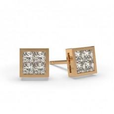 Princess Rose Gold Cluster Earrings
