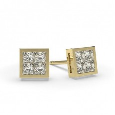 Princess Yellow Gold Cluster Earrings