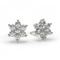White Gold Round Diamond Cluster Earring - CLER31_01