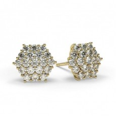 Prong Setting Round Diamond Cluster Earrings - HG0572_A2