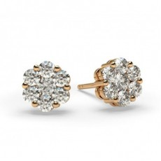 White Gold Round Diamond Cluster Earring - CLER33_01