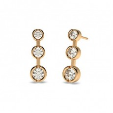 Round Rose Gold Journey Earrings