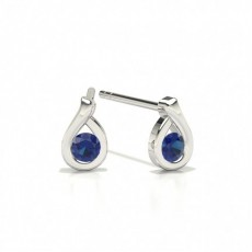Round Stud Blue Sapphire Earrings