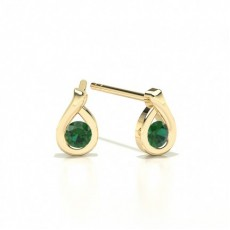 Yellow Gold Emerald Diamond Earrings
