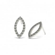 Boucles d'oreilles tendance diamant rond serti griffes en 0.30ct