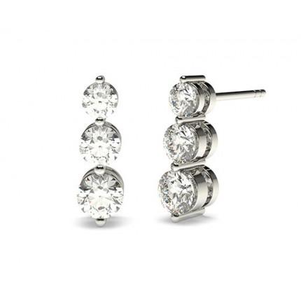 Runde Diamant Journey Ohrringe in einer 2er-Krappenfassung