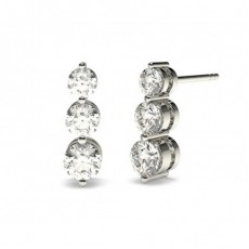 2 Prong Setting Round Diamond Journey Earrings (Available from 0.50ct. To 1.00ct.)
