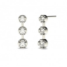 White Gold Round Diamond Journey Earrings