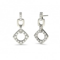 Round White Gold Drop Earrings