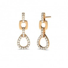 Pave Setting Round Diamond Drop Earrings - HG0596_7