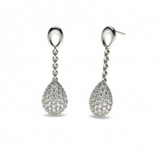 Platinum Drop Diamond Earrings