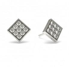 Boucles d'oreilles délicates diamant rond serti pavé 0.50ct - CLER73_10