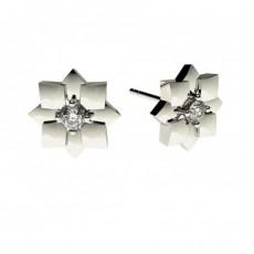 Boucles d'oreilles délicates diamant rond serti 4 griffes 0.15ct - CLER73_02