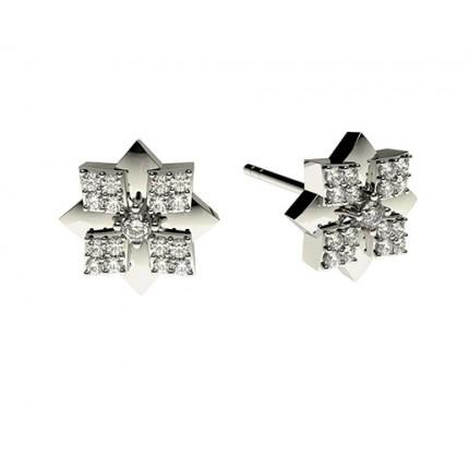 Runde Petite Diamantohrhänger in einer 4 Krappen und Pavefassung