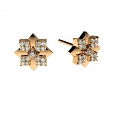 Rose Gold Cluster Diamond Earrings