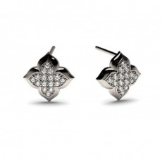 White Gold Round Diamond Delicate Earring - CLER73_07