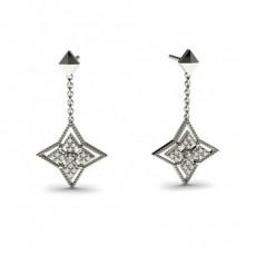 Boucles d'oreilles délicates diamant rond serti 4 griffes et pavé 0.15ct - CLER75_01