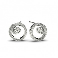 White Gold Round Diamond Delicate Earring - CLER78_02