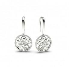 Boucles d'oreilles délicates diamant rond serti pavé 0.35ct - CLER79_01