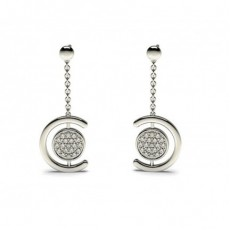 White Gold Round Diamond Delicate Earring - CLER80_01