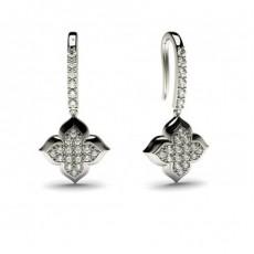 Boucles d'oreilles délicates diamant rond serti pavé 0.30ct - CLER81_02