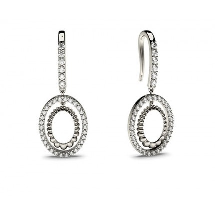 White Gold Round Diamond Delicate Earrings