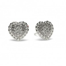 White Gold Round Diamond Cluster Earring - CLER84_10