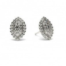 White Gold Round Diamond Cluster Earring - CLER84_11