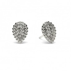 Diamant Cluster Ohrringe rund in einer Pavefassung - CLER84_14