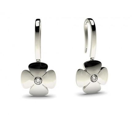 Petite runde Diamant Ohrringe in einer Zargenfassung