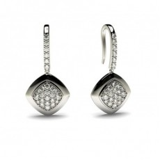 White Gold Round Diamond Delicate Earring - CLER86_02