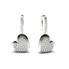 White Gold Round Diamond Delicate Earring - CLER86_06