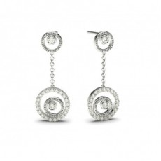 White Gold Round Diamond Delicate Earring - CLER87_04