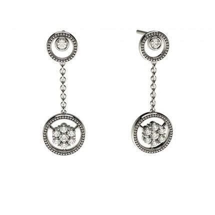 Runde Petite Diamantohrhänger in einer Zargen und Krappenfassung