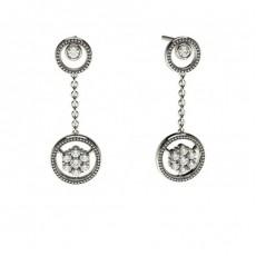 Boucles d'oreilles délicates diamant rond serti clos et pression 0.25ct - CLER87_03