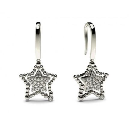 Petite runde Diamant Ohrringe in einer Zargen und Pave Fassung