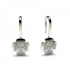 White Gold Round Diamond Delicate Earring - CLER88_02