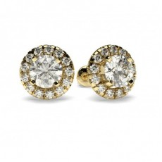 4 Prong Setting Round Diamond Halo Stud Earring in 18K Yellow Gold