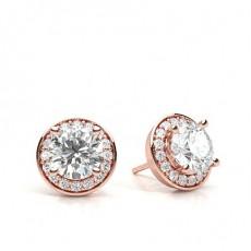 Rose Gold Halo Diamond Earrings