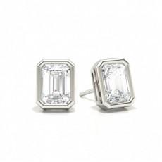 Emerald Stud Diamond Earrings