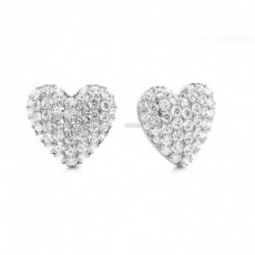Prong Setting Round Diamond Cluster Earrings - CLER99_01
