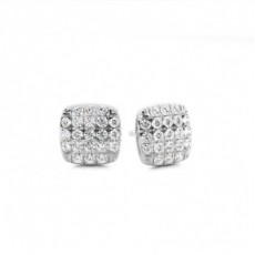 Illusion Setting Round Diamond Cluster Earrings - CLER100_01