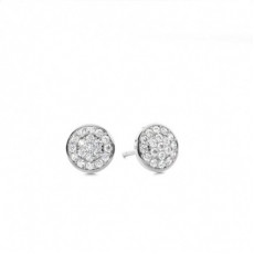 Pave Setting Round Diamond Cluster Earrings - CLER101_01